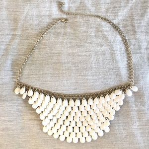 White Beaded Layered Statement Chain Necklace